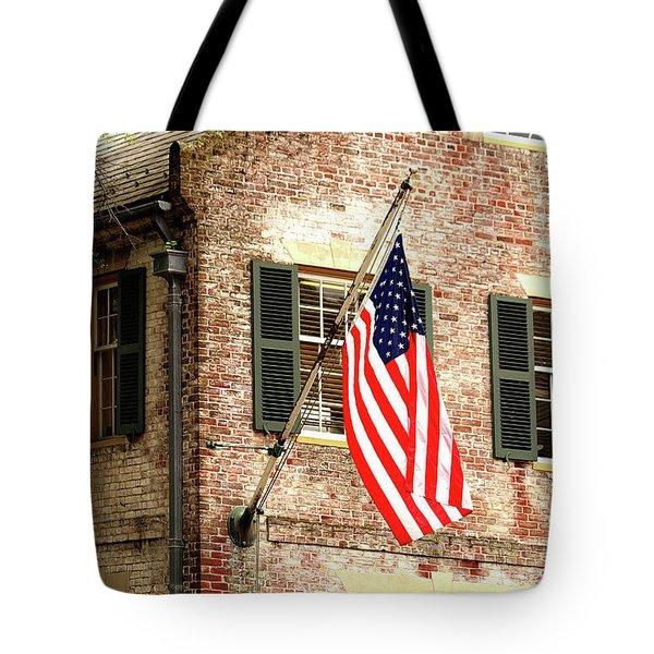 American Flag In Colonial Williamsburg Tote Bag
