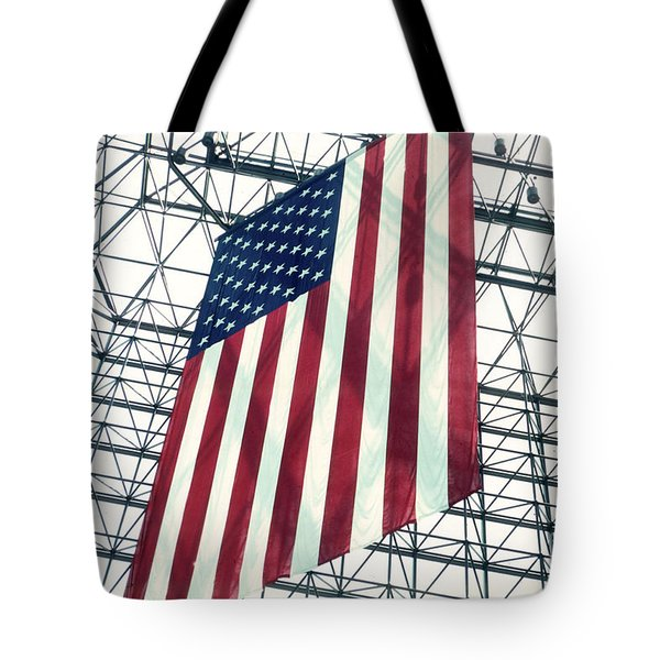American Flag In Kennedy Library Atrium - 1982 Tote Bag by Thomas Marchessault