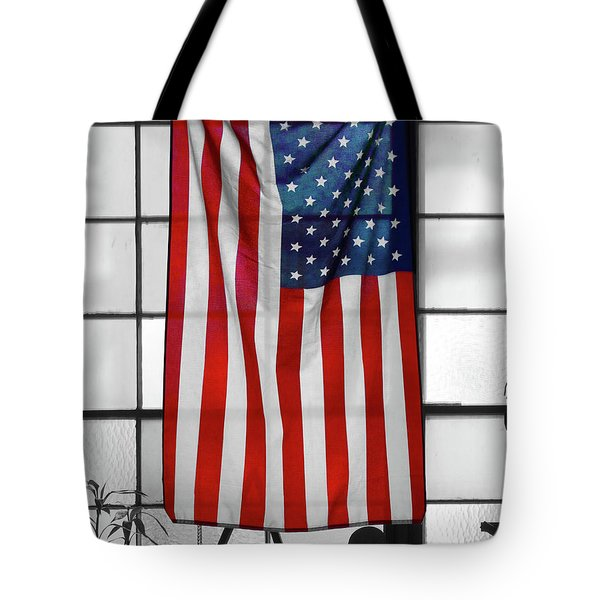 Tote Bag featuring the photograph American Flag In The Window by Mike McGlothlen