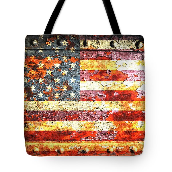 American Flag On Rusted Riveted Metal Door Tote Bag