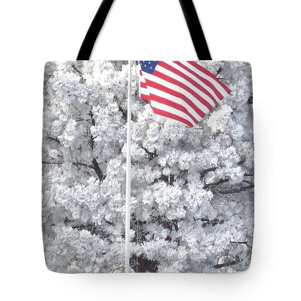 American Flag Snow  Tote Bag