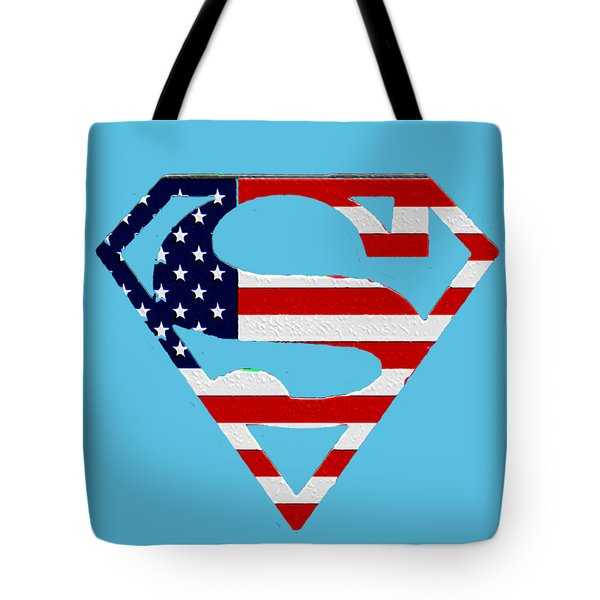 American Flag Superman Shield Tote Bag