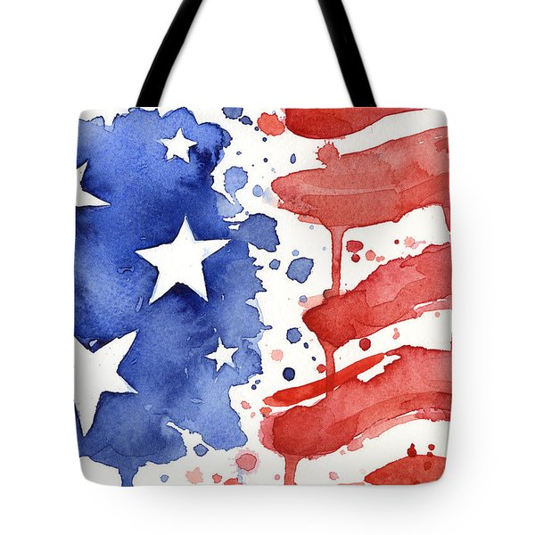 American Flag Watercolor Painting Tote Bag by Olga Shvartsur