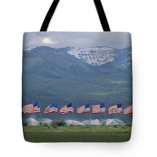 American Flags Honoring Veterans Tote Bag by James P. Blair