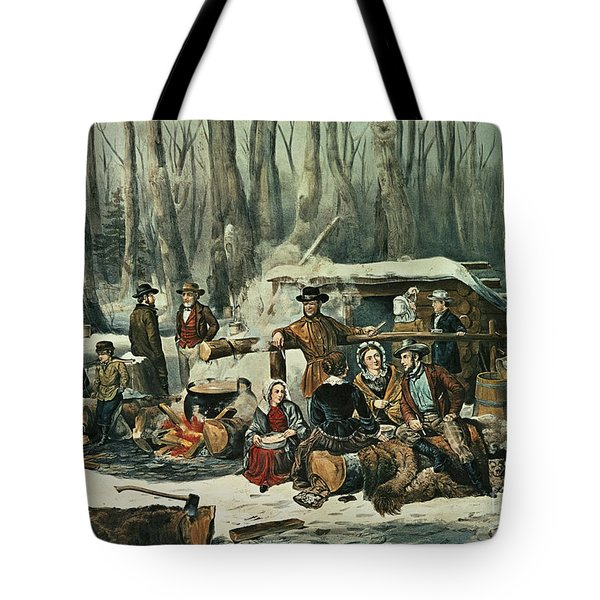 American Forest Scene Tote Bag by Currier and Ives