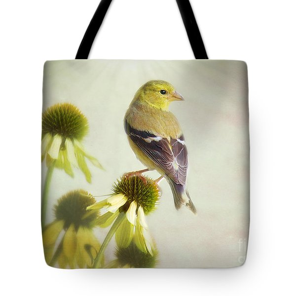 American Goldfinch On Coneflower Tote Bag