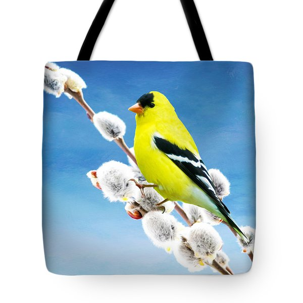 American Goldfinch Perched On Pussy Willow Tote Bag