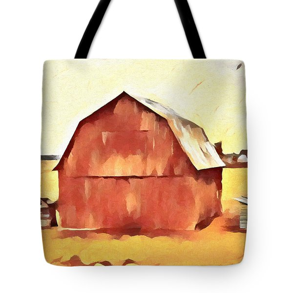 Tote Bag featuring the painting American Gothic Red Barn by Dan Sproul