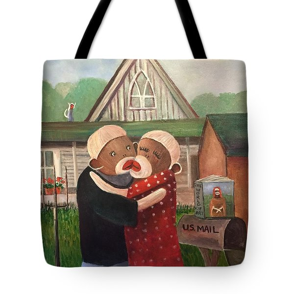American Gothic The Monkey Lisa And The Holler Tote Bag