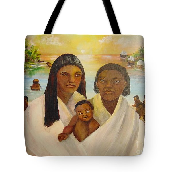 Tote Bag featuring the painting American Holocaust Survivors by Saundra Johnson