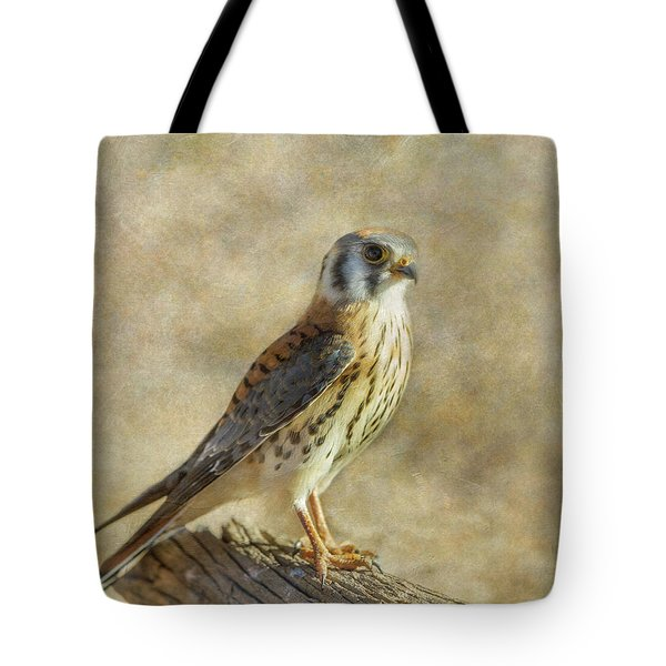 Tote Bag featuring the photograph American Kestrel Portrait by Angie Vogel