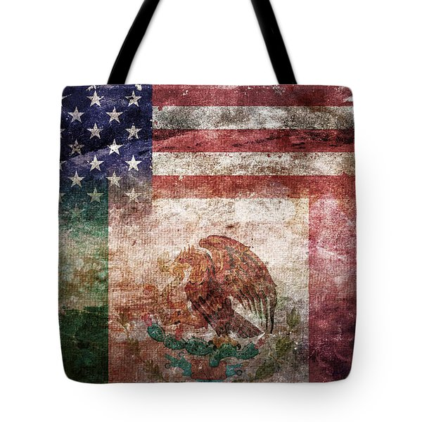 American Mexican Tattered Flag  Tote Bag