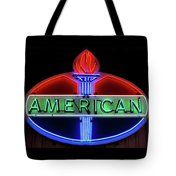 Tote Bag featuring the photograph American Oil Sign by Sandy Keeton