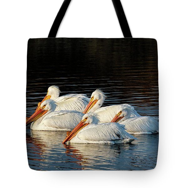 Tote Bag featuring the photograph American Pelicans - 03 by Rob Graham