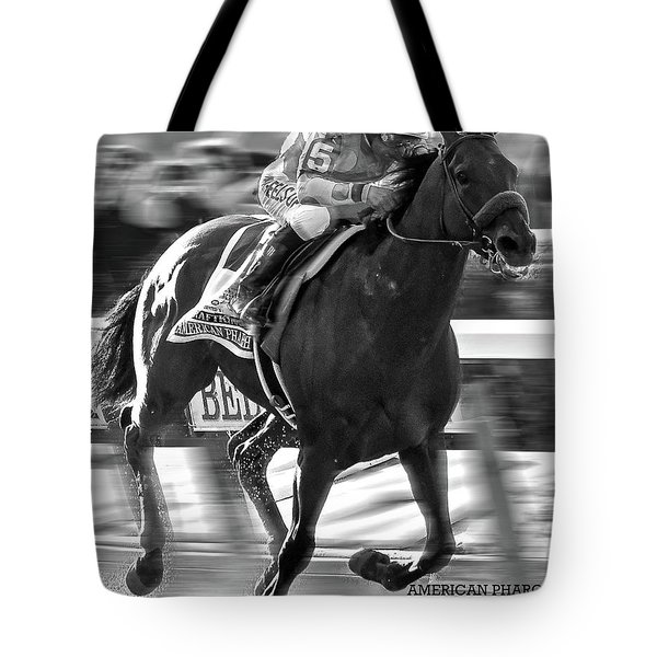 American Pharoah And Victor Espinoza Win The 2015 Belmont Stakes Tote Bag
