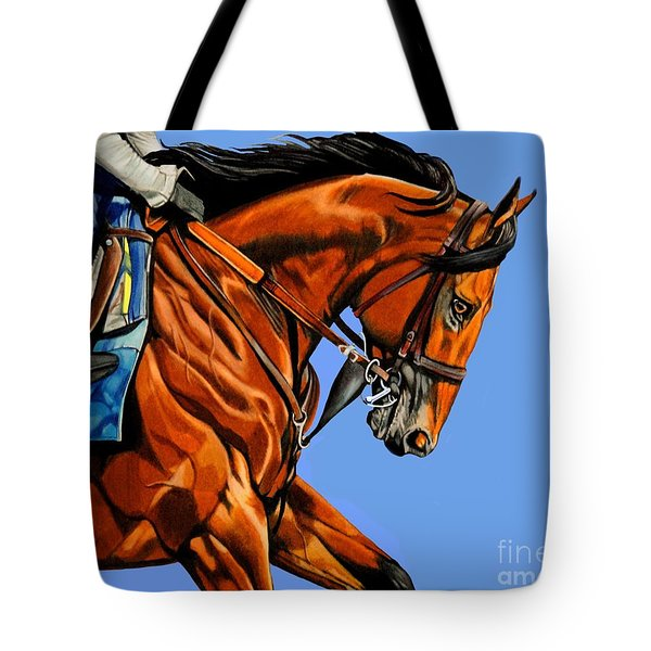 American Pharoah - Triple Crown Winner In Blue Tote Bag