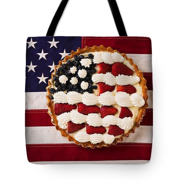 American Pie On American Flag  Tote Bag