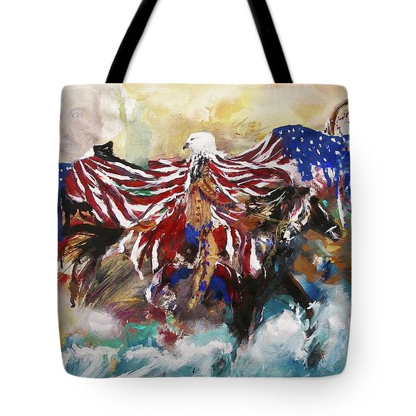 Tote Bag featuring the painting American Pride by Miroslaw  Chelchowski