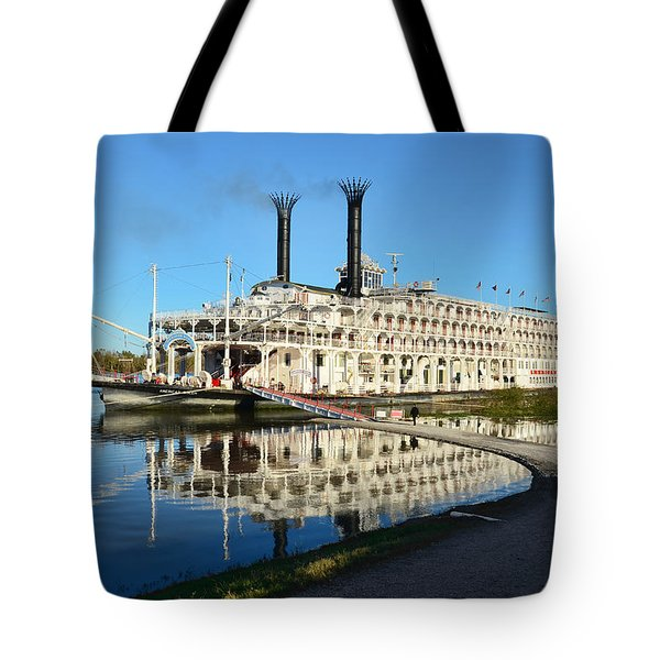 American Queen Steamboat Reflections On The Mississippi River Tote Bag by David Lawson