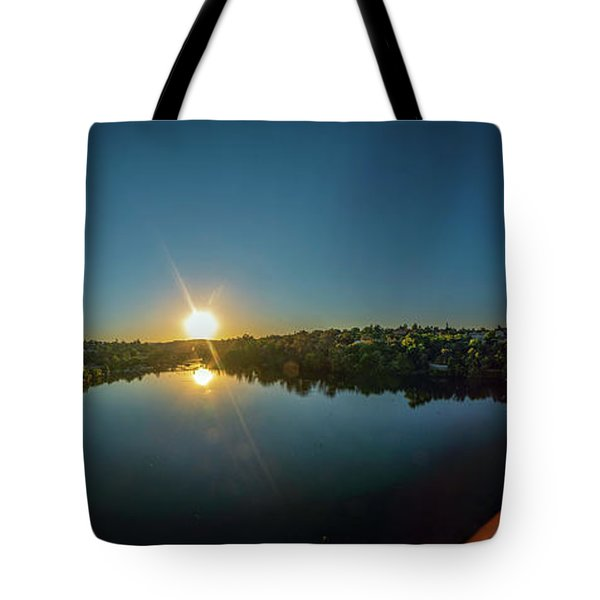 American River At Sunrise - Panorama Tote Bag