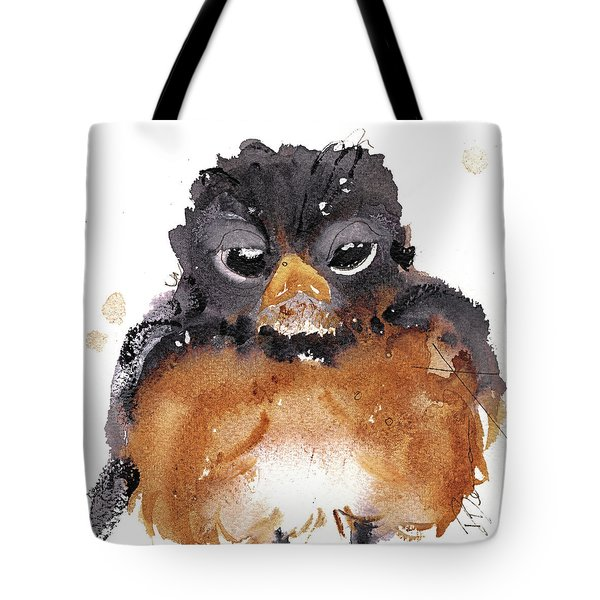 Tote Bag featuring the painting American Robin by Dawn Derman