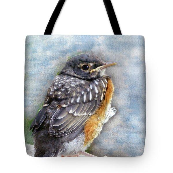 American Robin Fledgling In Springtime Tote Bag