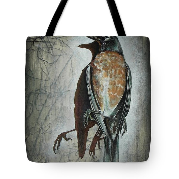 Tote Bag featuring the mixed media American Robin by Sheri Howe