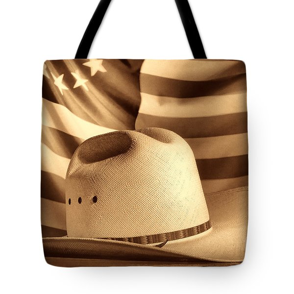 American Rodeo Cowboy Hat Tote Bag by American West Legend By Olivier Le Queinec