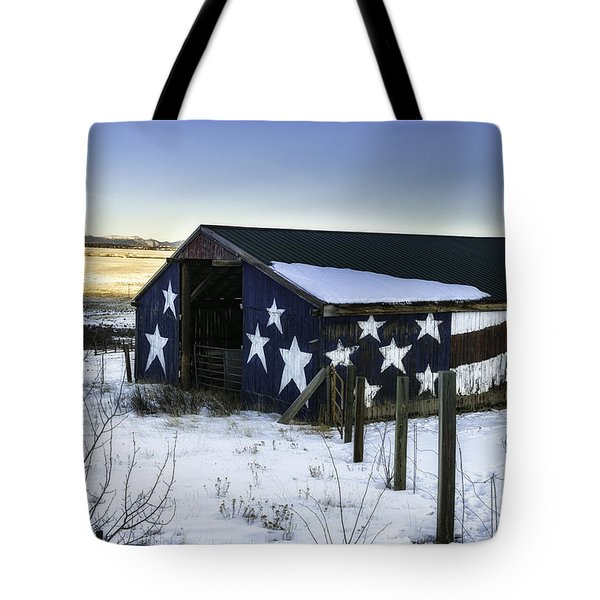 Tote Bag featuring the photograph American Snow  by Bitter Buffalo Photography