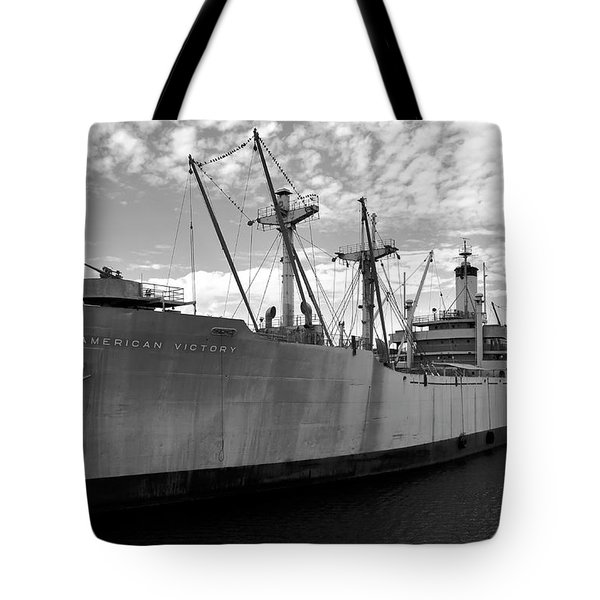 American Victory Ship Tampa Bay Tote Bag by David Lee Thompson