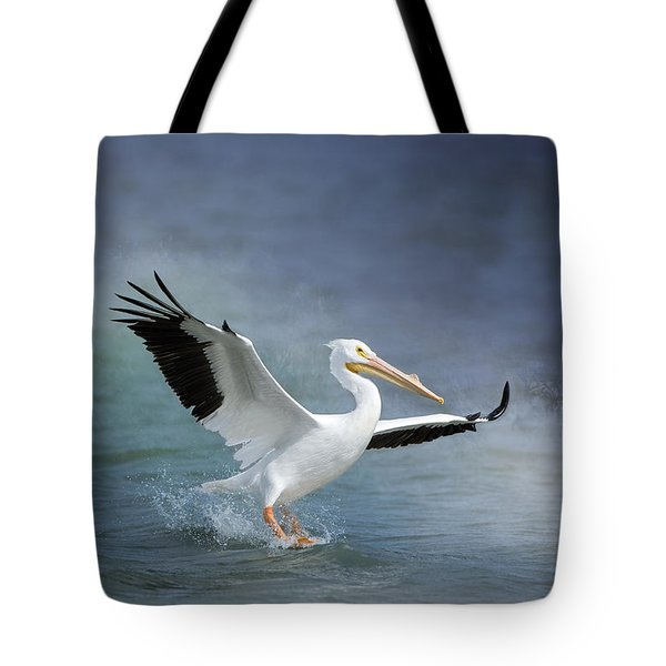 American White Pelican  Tote Bag by Bonnie Barry