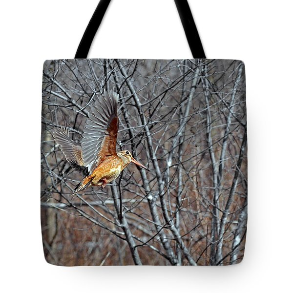 American Woodcock In Takeoff Flight Tote Bag