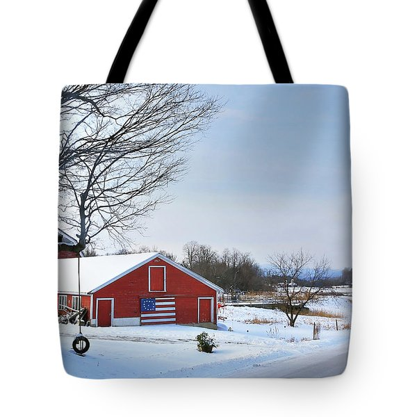 Americana Barn In Vermont Tote Bag by Sharon Batdorf