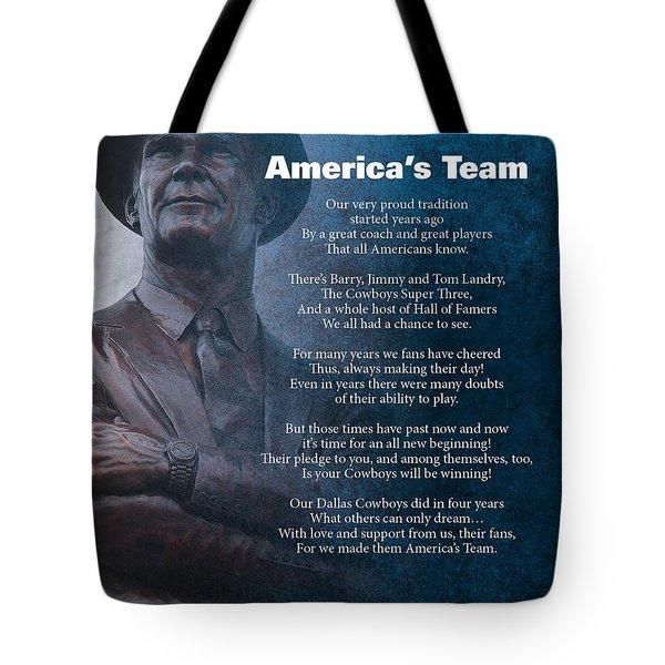 America's Team Poetry Art Tote Bag by Stanley Mathis