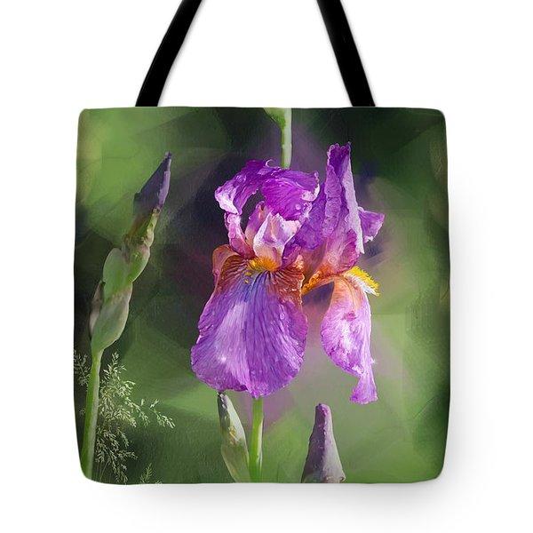 Amethyst Iris 2 Tote Bag by Debra Baldwin