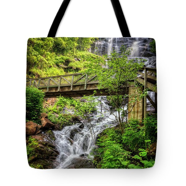 Tote Bag featuring the photograph Amicalola Falls Top To Bottom by Debra and Dave Vanderlaan