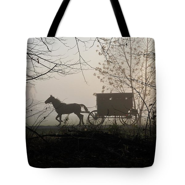Amish Buggy Foggy Sunday Tote Bag