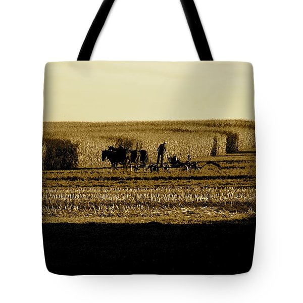 Amish Cornfield In Shadows Tote Bag