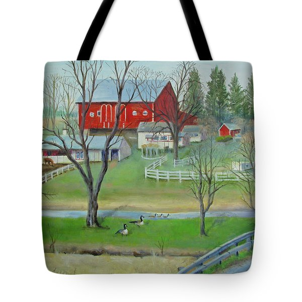 Tote Bag featuring the painting Amish Farm by Oz Freedgood