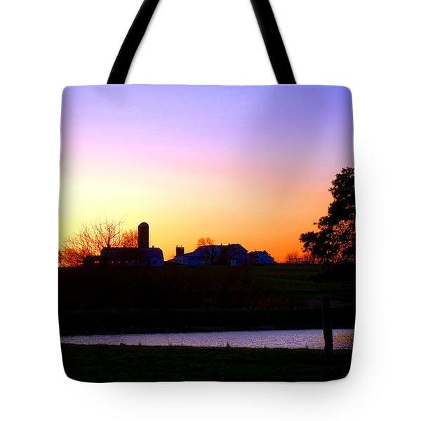 Amish Farm Sunset Tote Bag