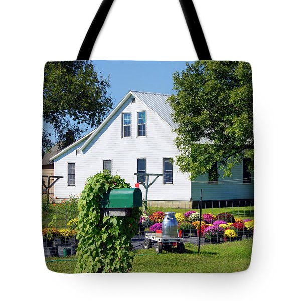 Tote Bag featuring the photograph Amish House With Mums by Cricket Hackmann