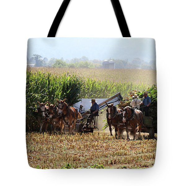 Tote Bag featuring the photograph Amish Men Harvesting Corn by Steven Frame