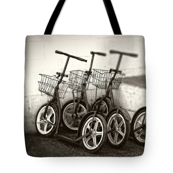 Amish Scooters In Black And White Tote Bag