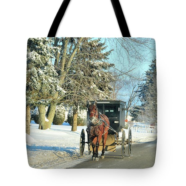 Amish Winter Tote Bag by David Arment