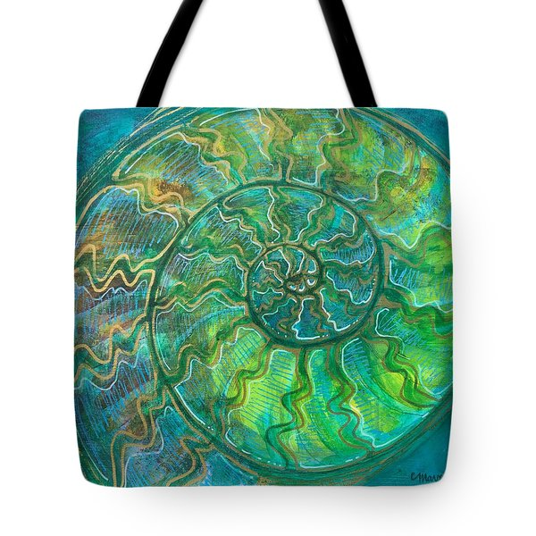 Tote Bag featuring the painting Ammonite Number One by Laurie Maves ART