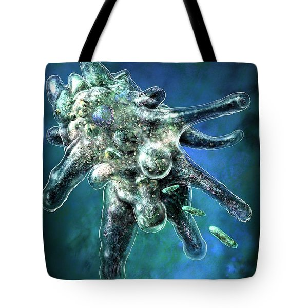 Tote Bag featuring the digital art Amoeba Blue by Russell Kightley