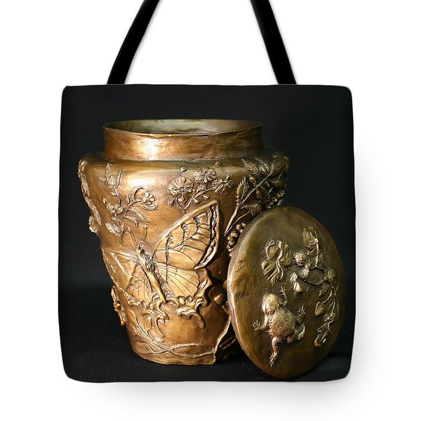 Tote Bag featuring the sculpture Among The Sagebrush Vase With Lid by Dawn Senior-Trask