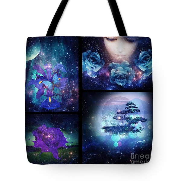 Tote Bag featuring the digital art Among The Stars Series by Mo T