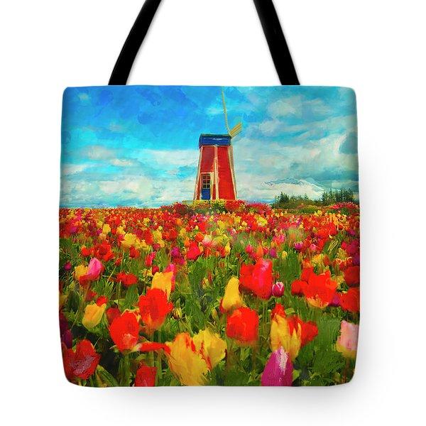 Amongst The Tulips Tote Bag