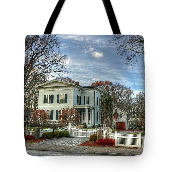 Tote Bag featuring the photograph Amos Tuck House In Late Autumn by Wayne Marshall Chase